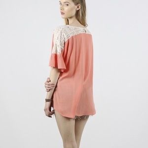 Tops - Coral Top with Lace Detailing